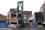 the view from Bombers Burrito Bar as demolition of Schenectady's IOOF Hall continues - 31Jan2012