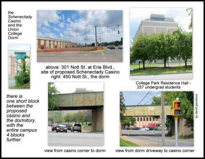 collage showing proximity of college dorm to proposed Schenectady casino