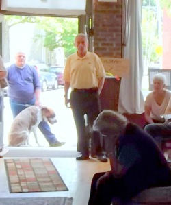 Vince Riggi (in yellow shirt) listens to opponents of the Schenectady Casino - 07Jun2014