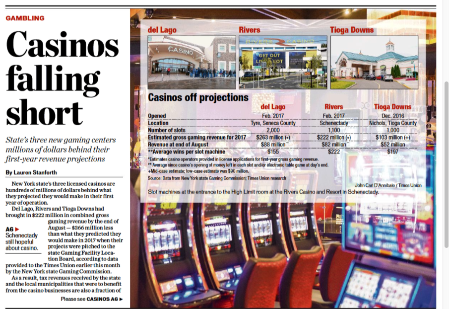despite Billy Fuccillo, no HUGE casino revenues yet
